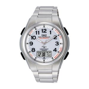 Q&Qソーラー電源電波腕時計 157-06B