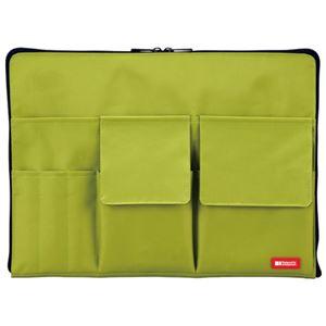 (まとめ)LIHITLAB バック イン バック A4 A7554-6 黄緑【×30セット】 - 拡大画像