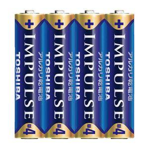(まとめ)東芝 インパルス アルカリ乾電池 単4 4個パック【×10セット】 - 拡大画像