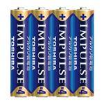 (まとめ)東芝 インパルス アルカリ乾電池 単4 4個パック【×10セット】