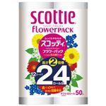 (まとめ)日本製紙クレシア スコッティフラワー2倍巻き12ロール W【×5セット】