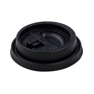 (まとめ)サンナップ エンボスカップ210mL用フタ ブラック 50個【×10セット】 - 拡大画像