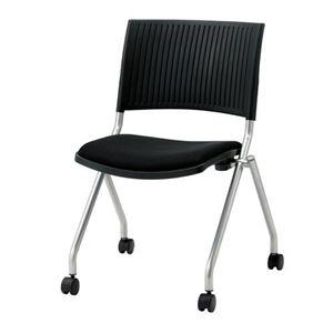 ジョインテックス 会議椅子(スタッキングチェア/ミーティングチェア) 肘なし キャスター付き FJC-K5 ブラック 【完成品】