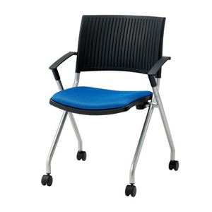 ジョインテックス 会議椅子(スタッキングチェア/ミーティングチェア) 肘付き/キャスター付き FJC-K5A ブルー 【完成品】