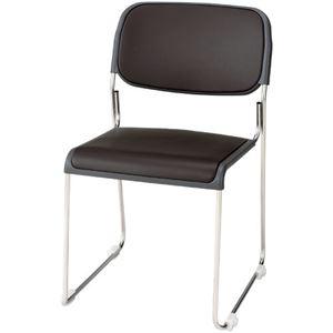 ジョインテックス 会議椅子(スタッキングチェア/ミーティングチェア) 肘なし 座面:合成皮革(合皮) FRK-S2LN BR ブラウン 【完成品】