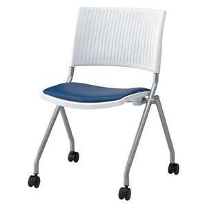 ジョインテックス 会議椅子(スタッキングチェア/ミーティングチェア) 肘なし 座面:合成皮革(合皮) キャスター付き FJC-K6L NV 【完成品】