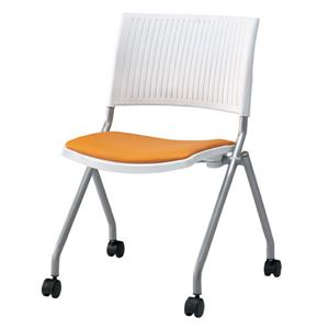 ジョインテックス 会議椅子(スタッキングチェア/ミーティングチェア) 肘なし 座面:合成皮革(合皮) キャスター付き FJC-K6L OR 【完成品】