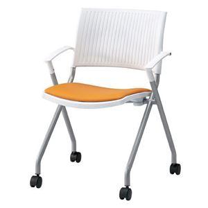 ジョインテックス 会議椅子(スタッキングチェア/ミーティングチェア) 肘付き 座面:合成皮革(合皮) キャスター付き FJC-K6AL OR 【完成品】