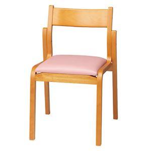 ジョインテックス 会議椅子スタッキングチェア 【肘なしタイプ】 木製 座面:ビニールレザー MF-C4N PK ピンク 【完成品】