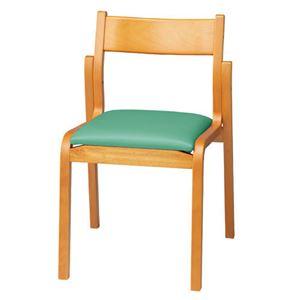 ジョインテックス 会議椅子スタッキングチェア 【肘なしタイプ】 木製 座面:ビニールレザー MF-C4N GR グリーン 【完成品】
