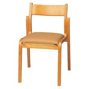 ジョインテックス 会議椅子/スタッキングチェア 【肘なしタイプ】 木製 座面:ビニールレザー MF-C4N LBR ライトブラウン 【完成品】
