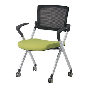 ジョインテックス 会議椅子(スタッキングチェア/ミーティングチェア) 肘付き/キャスター付き GK-A90SM グリーン 【完成品】