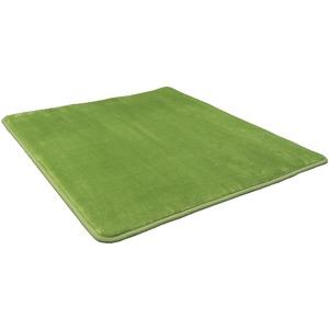 低反発 ラグ モスグリーン 緑 グリーン 極厚 200×400  長方形 【やさしいフランネル防音低反発ラグ】 遮音 防音マット ノンホル ラグマット - 拡大画像