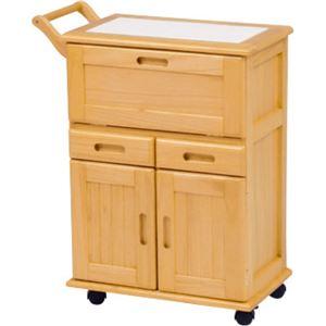 キッチンワゴン/キッチン収納 【ナチュラル】 幅59cm キャスター付き 木製 タイル張り天板