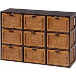 ランドリーチェスト(洗面所収納/ランドリー収納) 3段 幅104cm 木製(籐・天然木) 枯淡シリーズ