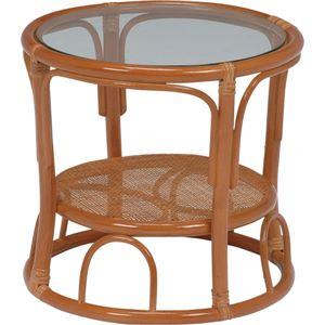 ローテーブル/サイドテーブル 【丸型/幅43cm】 木製/籐 強化ガラス天板 収納棚付き アジアンテイスト