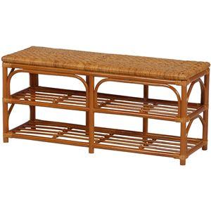 ベンチチェア 木製(籐) 座面手編み 幅90cm×奥行30cm×高さ40cm  - 拡大画像
