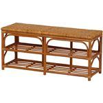 ベンチチェア 木製(籐) 座面手編み 幅90cm×奥行30cm×高さ40cm