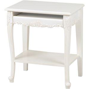 パソコンテーブル 木製 アンティークホワイト 『ヴィオレッタシリーズ』