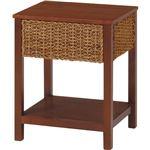 サイドテーブル/ローテーブル 【幅40cm】 マホガニー×ピサンアバカ アジアンテイスト グランツシリーズ ナチュラル