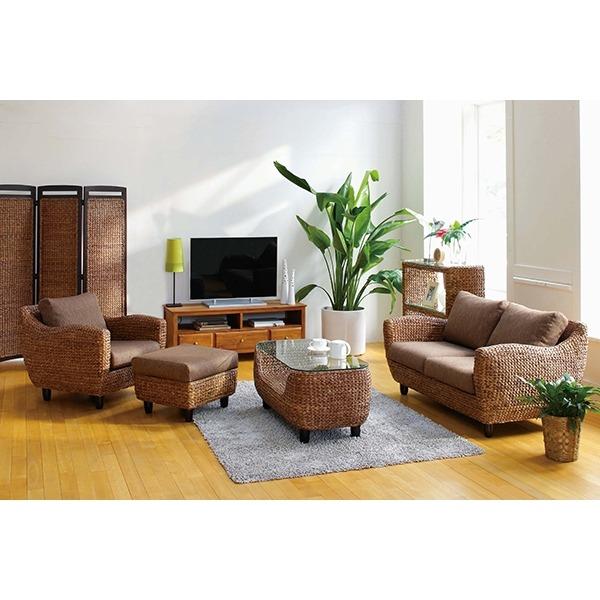 「アジアン調『ローズマリーシリーズ』 木製 ウォーターヒヤシンス使用 ブラウンのリビング家具 」