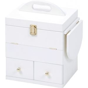 コスメボックス 木製 ミラー/バタフライ式ミニテーブル付き 白(ホワイト)  - 拡大画像