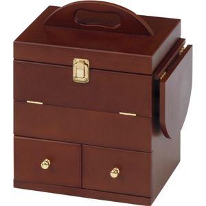 コスメボックス 木製 ミラー/バタフライ式ミニテーブル付き ブラウン  - 拡大画像