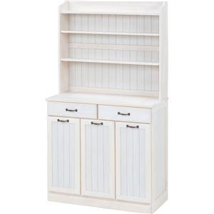 ダストボックス 木製おしゃれゴミ箱 3分別 25Lペール3個付き 白(ホワイト)  - 拡大画像