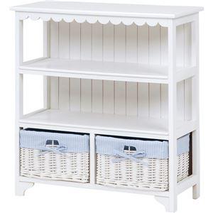 キャビネット(収納棚/オープンラック) 幅70cm 木製 バスケット2つ付き カントリー調 ホワイト(白)