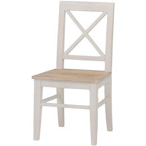 ダイニングチェア/リビングチェア 木製 座面:桐材 アンティーク調 ホワイト(白)