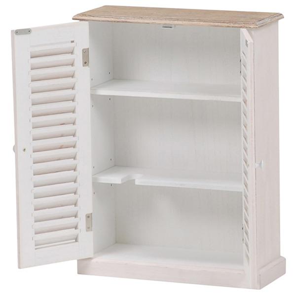 トイレラック(トイレ収納) ブロカントシリーズ 可動棚付き 木製 白 【完成品】)
