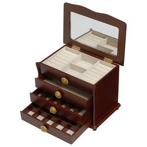 【訳あり・在庫処分】 大容量ジュエリーボックス(宝石箱) 4段収納 幅26cm 木製 コンパクト ブラウン - 拡大画像