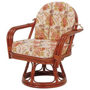 回転座椅子/パーソナルチェア 【ゆったりサイズ】 座面高36cm 木製(ラタン製) 肘付き - 拡大画像