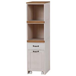 カントリー調キッチンラック(キッチン収納/キッチンワゴン) 高さ116cm 木製 引き出し/一口コンセント/キャスター付き ホワイト(白)