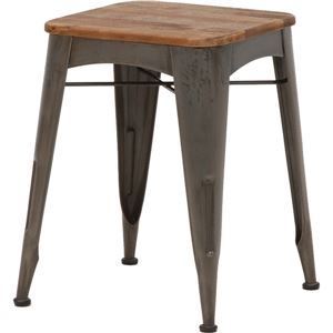 デザインスツール(ロースツール/腰掛け椅子) 高さ48cm 木製×スチールパイプ リベルタシリーズ - 拡大画像