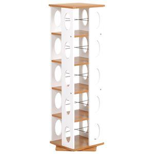 回転ラック(本棚/ブックシェルフ) 5段 高さ120cm 大容量 スリム ホワイト(白) 〔本収納/CD収納〕