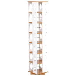 回転ラック(本棚/ブックシェルフ) 7段 高さ167cm 大容量 スリム ホワイト(白) 〔本収納/CD収納〕