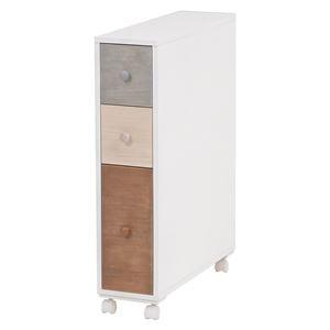 トイレラック/トイレ収納棚 【幅15.5cm】 ホワイト(白) 引き出し:ナチュラルカラー 木製 スリム キャスター付き