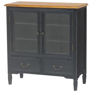 扉付きキャビネット(リビング収納/収納棚) 幅80cm 木製 引き出し収納付き アンティーク調 ブロカントシリーズ ブラック(黒)