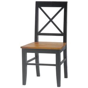 ダイニングチェア(リビングチェア/椅子) 木製 座面高43cm シャビーシック ブロカントシリーズ ブラック(黒)