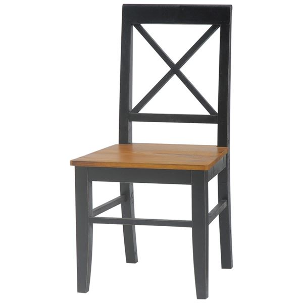 ダイニングチェア(リビングチェア/椅子) 木製 座面高43cm シャビーシック ブロカントシリーズ ブラック(黒))