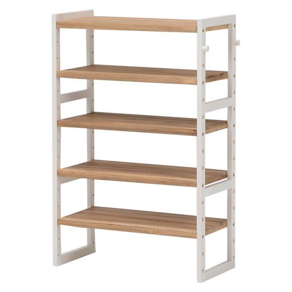 シューズラック(下駄箱/収納棚) 4段 幅60cm 木製 高さ調節可 フック/可動棚付き アイボリー