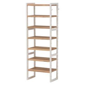 シューズラック(下駄箱/収納棚) 6段 幅45cm 木製 スリム 高さ調節可 フック/可動棚付き アイボリー  - 拡大画像
