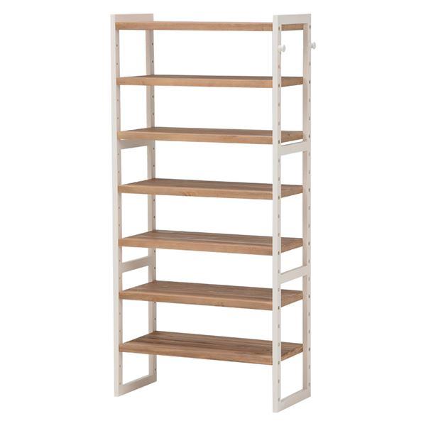 シューズラック(下駄箱/収納棚) 6段 幅60cm 木製 高さ調節可 フック/可動棚付き アイボリー