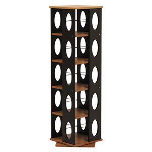 回転ラック(本棚/ブックシェルフ) 5段 高さ120cm 大容量 スリム ブラウン 〔本収納/CD収納〕