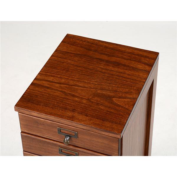 書類チェスト/リビングチェスト 【5段】 木製/桐 幅28cm ネーム入れ付き ブラウン4