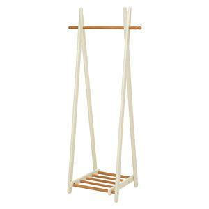 折りたたみハンガーラック/衣類収納 【幅66cm/ナチュラルホワイト】 スリム 木製 収納棚付き
