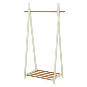 折りたたみハンガーラック/衣類収納 【幅90cm/ナチュラルホワイト】 木製 収納棚付き
