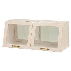 カウンター上ガラスケース(キッチン収納/スパイスラック) 木製 幅60cm×高さ25cm ホワイト(白) 取っ手/引き戸付き