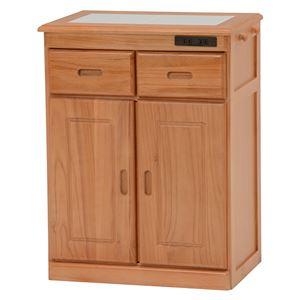 キッチンカウンター(キッチン収納/キッチンボード) 幅52cm 木製 二口コンセント/キャスター付き ナチュラル